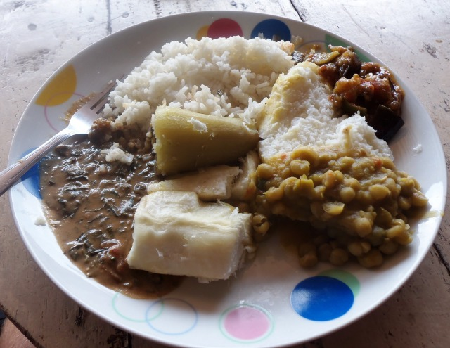Not the meal described above but a good example of a simple nutritional Ugandan meal (especially when compared with Australian fast food)